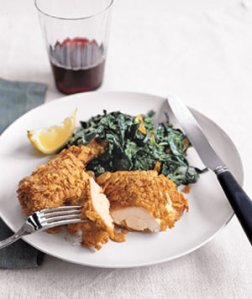Crispy Chicken and Garlicky Collards, from Real Simple, February 2009