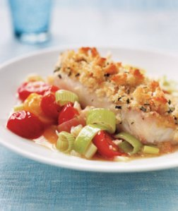 Crispy Fish With Tomato and Leek Saute, from Real Simple, May 2009