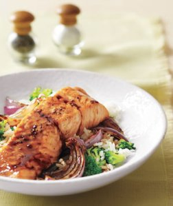 Glazed Salmon With Broccoli Rice, from Real Simple, May 2009