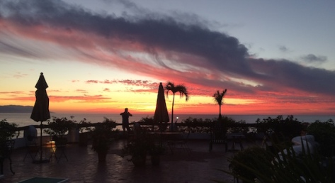 Capturing the Puerto Vallarta sunset on the rooftop of the penthouse at Villa Blanca